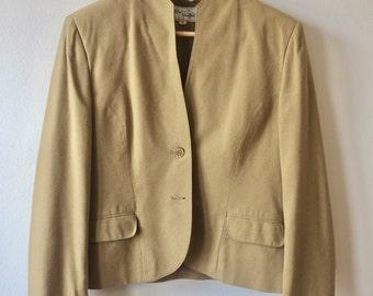 Vintage Raw Silk Tan / Mustard Blazer Womens Medium
