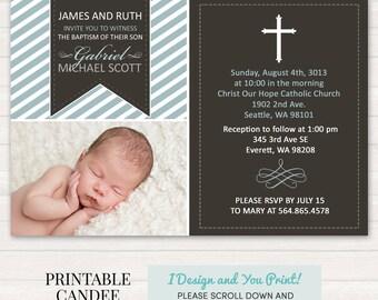 Boy Baptism Invitation - Christening Invitation - Cross Baptism Invitation- Boy Christening Invitation - Printable Baptism Invitation