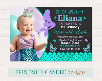 Mermaid Chalkboard Birthday Invitation, Mermaid Invite, Under The Sea Party, Teal Purple Mermaid Invitation, Adorable Mermaid Birthday