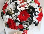 rockabilly bouquet, Alice in wonderland bouquet, red black whimsical bouquet, Vintage brooch bouquet, floral flower, wedding posy bouquet