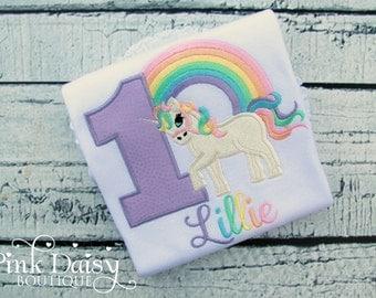Rainbow Unicorn Birthday Shirt - Pastel Rainbow Unicorn - Personalized Appliqué Shirt or Bodysuit - Embroidered Unicorn Shirt - Purple