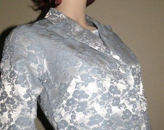 1960s Three Piece BLUE Brocade Going Away Bridal Outfit