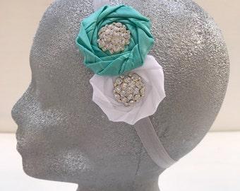 Aqua  and white flowers headband~Elastic headband~Prop~Photo prop~Photography prop~Gift~Wedding~Flower girl~Present~Baby girl~Headband