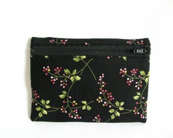 Medium Pouch- Wild rosewood print cotton