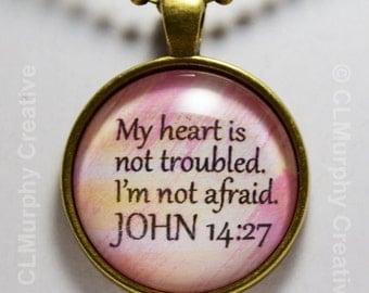 Custom Hand Art Necklace Pendant Jewelry Christian Pendant John 14:27 Sobriety NA AA C L Murphy Creative