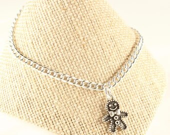 Gingerbread Man Necklace Holiday Jewelry Girls Holiday Necklace Gingerbread Man Charm Girls Holiday Gift Silver Charm Fairytale Jewelry