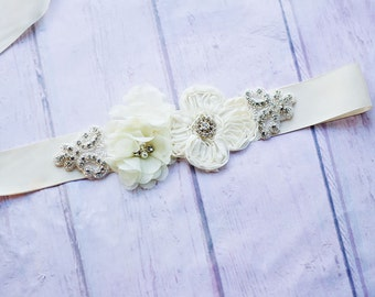 Bridal Sash, Bridesmaid Sash, Maternity Sash, Flower Girl Sash, Ivory Sash, Bridal Belt, Ivory Bridal Belt, Rustic Sash, Rhinestone Sash