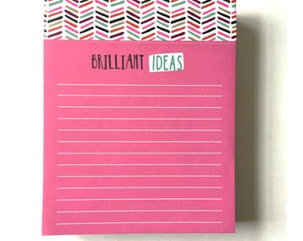 Brilliant Ideas Notepad // Pink Notepad // Mini Notepad // Perforated Notepad // To Do List // Goal Notepad // Pink List // Fat Notepad