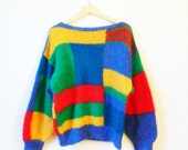 Wool Mohair Knit Vintage Colorblock Sweater / Bold Statement Sweater / Colorblock Fuzzy Sweater