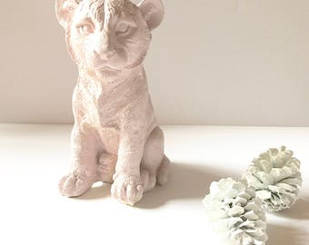 BOYSENBERRY SHERBET Tiger Cub Animal Statue for Table top safari animal pink tiger pastel nursery decor kids room decor office decor
