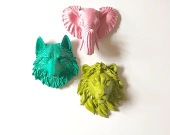Set of 3 ANY color/color combination:  Choose from small wolf, bear, tiger, lion, elephant or zebra Faux Taxidermy faux animal head