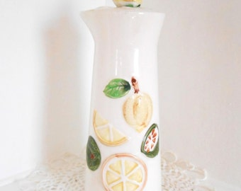 Carafe / Ceramic Water Carafe / Lemons Yellow / Juice Carafe / Vintage Retro Carafe