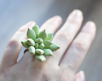 Succulent ring - rustic ring - rustic jewelry - eco friendly jewelry - woodland ring - botanical ring - pastel green - nature wedding ring