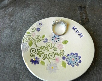 Custom Mom Ceramic Ring Dish, Flower Plate, Blue Pink Jewelry Plate, for Mum, Mom, Grandmother Pottery Gift,  Bridal Shower Jewelry Dish