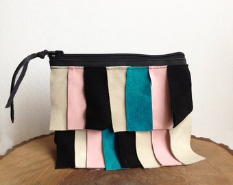 Color block Leatherclutch, Clutch bag, clutch purse, Asymmetric, Blush pink, Crossbody bag, Small clutch,