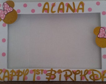 Birthday, Baby Shower, Wedding,White Pink Dots Gold Minnie Mouse Themed Party Photo Prop Frame