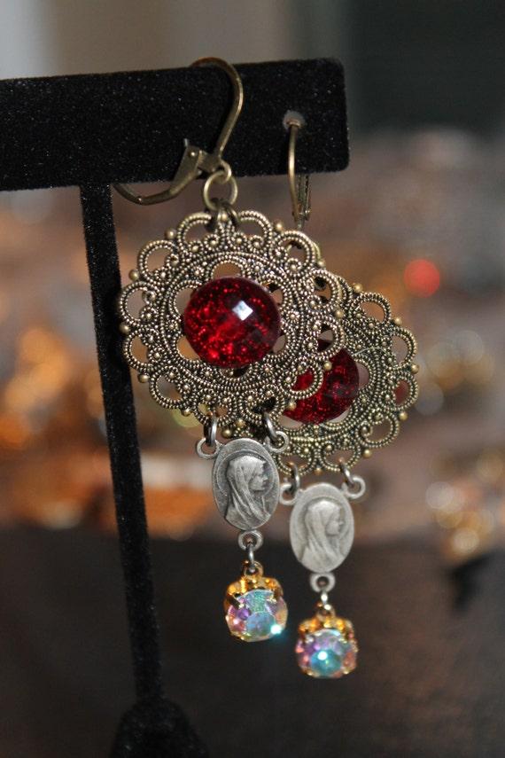 Dangle Earrings Virgin Mary  vintage assemblage Repurposed  rhinestones cabochons filigree bronze, mixed media art, upcycled, OOAK