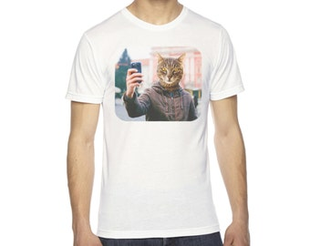 Cat Shirt for Men | Cat shirts | funny cat shirt | American Apparel | cat lover gift | cat tshirt | Selfie | cats shirt | funny shirt |