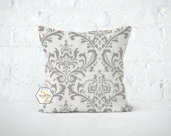 Grey Damask Pillow Cover - Traditions Storm Grey - Lumbar 12 14 16 18 20 22 24 26 Euro - Hidden Zipper Closure