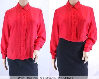 Vintage 1980s Scarlet Red Embroidered Silky Mad Men Blouse Shirt Smart - Size 14UK 12US