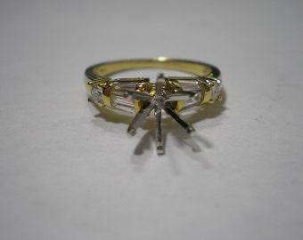 NOS 18k Two Tone Gold Diamond Engagement Semi Mount Setting Size 6.5