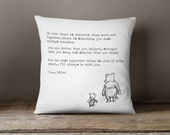 Winnie the Pooh Quote Pillow | 18X18 White Pillow Cover | Literary Gift, Inspirational Gift, Sympathy Gift, Condolence, Romantic