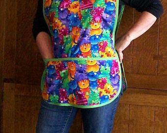 Colorful Cats Cobbler Apron - Teacher Apron with Cats - One Size Cobbler Apron