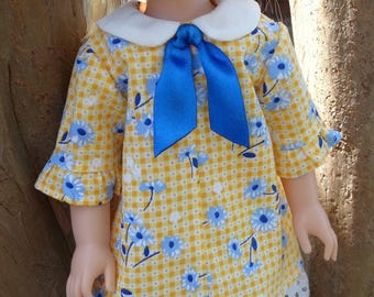 "14.5"" Doll Clothes 1960's Style Dress Fits American Girl Wellie Wishers and Heart4Heart Dolls"