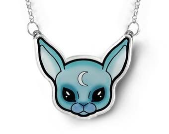 Pastel Goth Bunny Necklace - Pastel Goth Jewelry, Kawaii Necklace, Pastel Grunge Jewelry, Kawaii Bunny Rabbit Necklace