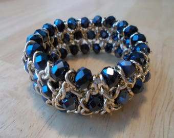 Silver Tone Stretch Cuff Bracelet with Blue Bycon  Crystal Beads in Silver Chain