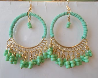 Gold Tone and Turquoise Hoop Earrings with Turquoise Bead Dangles