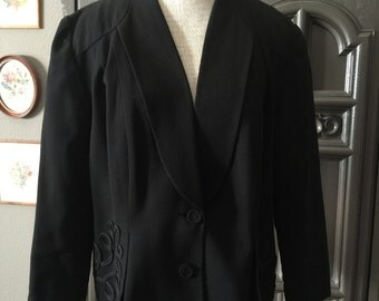 40s Embellished Black Gab Suit Jacket