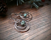 Sterling Silver Circular Earrings with Vintage Turquoise Nugget Beads. Sky Turquoise, Geometric, December Birthstone. Ready to Ship.