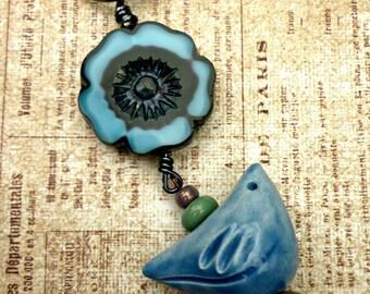 Bird bag charm, flower bag charm, blue bag charm, ceramic bag charm, blue bird, cute bag charm, gift for bag lover, small gift, UK gifts