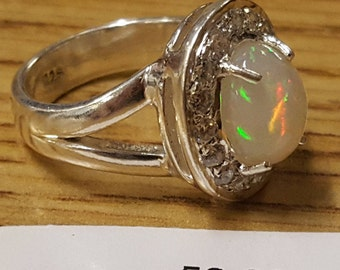 One Beautiful Ethiopian Opal Solid Sterling Silver Ring With Authentic Australian Crystals Size 5.5 Free Shipping USA and Canada