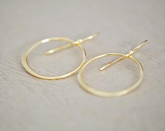 Circle Earrings - Hoop Earrings - Circle Gold Earrings - gift for women