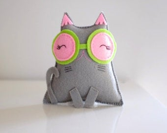 Grey cat with a pink big glasses
