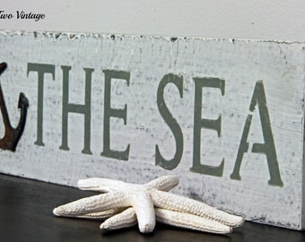 Wood Sign, Reclaimed Wood Sign, Hand Painted Wood Sign, Seaside Cottage Sign, Shabby Chic, The Sea