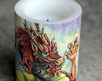 LED Candle, Chinese Dragon, Candle, Red Dragon, Wax Candle, Battery operated candle, flameless candle