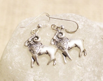 Sterling Silver Aries Earrings, Astrology Earrings, Zodiac Signs Jewelry, Gifts Under 25