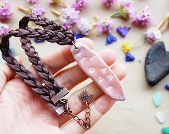 I AM LOVE Talisman Necklace -  Spiritual Jewelry Gift - Custom Engraved Clay Jewelry