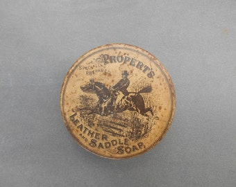 Vintage Propert's Leather and Saddle Soap Tin Horse and Rider Equestrian Equine Rustic Antique Advertising Small Round Tin Made in England