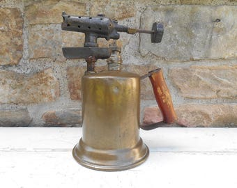Antique Brass Blow Torch Clayton and Lambert Mfg. Co. Vintage Steampunk Brass Blowtorch Detroit Michigan Pat. 1921