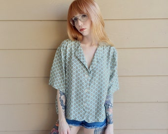 Mint Green Retro Baroque Print Button Down Boxy Oversized Cropped Blouse // Women's size Large L