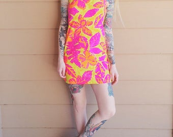 Baywatch Neon Sunset Floral Resort Beach BodyCon Halter Mini Dress // Women's size Small S