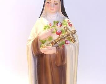 "Saint Theresa of Lisieux "" The Little Flower"" Plaster Religious Statue"