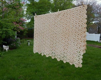 Antique Crochet Tablecloth Vintage Tablecloth Handmade Tablecloth Crochet Bedspread.
