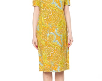 Orange And Yellow Paisley Shift Dress Size: 4-6