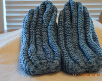Slippers-Mens Blue Extra Thick Knitted