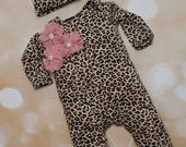 Leopard Infant Layette Cotton Baby Romper with Cluster Chiffon On The Chest and Matching Hat